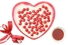 Valentine dessert. Romantic valentine dessert isolated on white background Stock Images