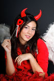 Valentine devil girl Stock Photos