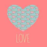 Valentine die gedrukte liefdekaart met tekstliefde begroeten in vector royalty-vrije illustratie