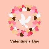 Valentine die illustratie met kroon en duif begroeten Royalty-vrije Stock Afbeeldingen