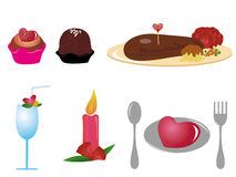 Valentine Dining Icons. Of of steak, desserts, candle, drink and others Royalty Free Stock Image