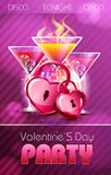 Valentine disco poster with hearts. And cocktails Stock Images