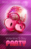Valentine disco poster with hearts Royalty Free Stock Images
