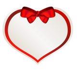 Valentine-document hart met rode boog stock foto
