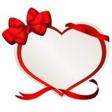 Valentine-document hart met rode boog stock afbeelding