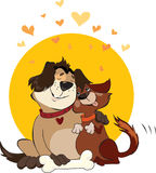 Valentine Dogs. Cartoon of two dogs-friends Stock Images