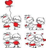 Valentine doodle boy and girl,vector Royalty Free Stock Photos
