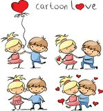 Valentine doodle boy and girl,vector Stock Images
