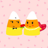 Valentine doodle candy corn giving roses to lady candy corn Royalty Free Stock Photos