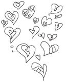 Valentine doodle hearts set. Valentine doodle set with stylized hearts available in  vector format Stock Photos