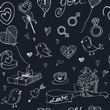Valentine doodle seamless pattern with hearts, flowers, gifts, candus and birds. Stock Image