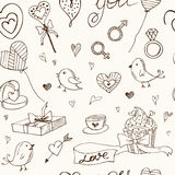 Valentine doodle seamless pattern with hearts, flowers, gifts, candus and birds. Royalty Free Stock Photography