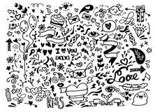 Valentine Doodle Set Hand Draw Love Element Stock Vector