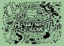 Valentine doodle set ,hand draw love element Stock Images