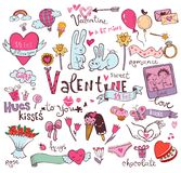 Cute Valentine doodles Royalty Free Stock Image