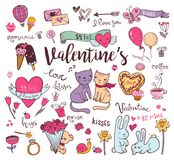 Cute Valentine doodles. Valentine doodle set, Hand-drawn icons. Vector illustration Royalty Free Stock Photo