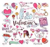 Cute Valentine doodles vector illustration