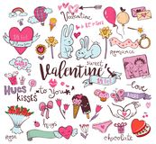 Cute Valentine doodles Stock Images