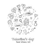 Valentine doodle set with hearts, flowers, gifts, candus and birds. Stock Photo