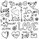Valentine doodles. Handmade valentine doodles elements on white stock illustration