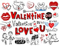 Valentine doodles royalty free stock images
