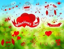 Valentine doodles Stock Images