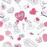 Valentine doodles seamless pattern. Vector illustration Stock Photos
