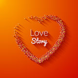 Valentine Dot Background with Heart shape. Love story. Happy Valentine Day Holiday background.  Vector Illustration