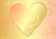 Valentine elegant background with heart (vector). Abstract Valentine elegant pink and golden background with heart Stock Photo