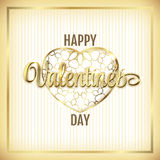 Valentine elegant golden frame with hearts and lettering. Vector Royalty Free Stock Image