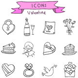 Valentine element icons with hand draw. Illustration Stock Images