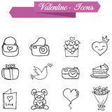 Valentine element of icons with hand draw Royalty Free Stock Photography
