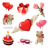 Valentine elements. Set of elements for st. Valentine's day. Isolated on white background Royalty Free Stock Photo