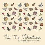 Valentine elements. Sweet retro seamless Valentine pattern Stock Photos