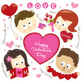 Valentine elements w/ kids Stock Photo
