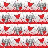 Valentine elephant lovers 2, seamless pattern background Royalty Free Stock Image