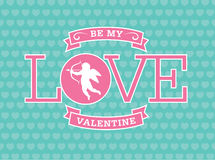 Valentine Emblem. With cupid and love Stock Photos