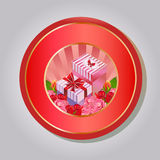 Valentine emblem gift box. Emblem in red valentine theme. file in eps 10 file, with no gradient meshes,blends,opacity, stroke path,brushes. Also all elements stock illustration