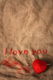 Valentine embroidery with empty space Stock Photography