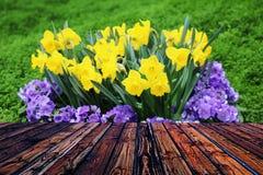 Valentine en bois colorée de fond de tache floue de fleur de coeur de table colorée de vert bleu de ciel bleu de table de barrièr Image stock