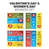 Valentine en de bannerreeks van de vrouwendag Stock Foto