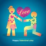 Valentine en de kerel van het huwelijksbeeldverhaal op knieën die meisje voorstellen. Zal Stock Fotografie
