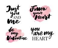 Valentine' ; ensemble de jour de s de symboles calligraphie Illustration de vecteur Gris sur le fond blanc illustration stock