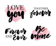 Valentine' ; ensemble de jour de s de symboles calligraphie Illustration de vecteur Gris sur le fond blanc illustration de vecteur