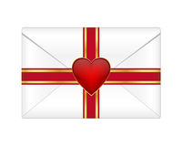 Valentine envelope. With heart bow Royalty Free Stock Photos