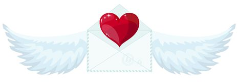 Valentine envelope with heart and wings Royalty Free Stock Image