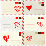Valentine envelope with red heart sketch Royalty Free Stock Photography