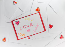 Valentine envelopes with LOVE words on it.  Stock Photography