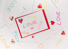 Valentine envelopes with LOVE words on it.  Stock Photo