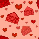 Valentine envelopes seamless pattern Royalty Free Stock Photos